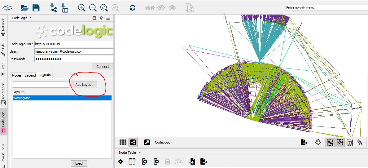 screenshot of CodeLogic desktop view of data in a fan shape