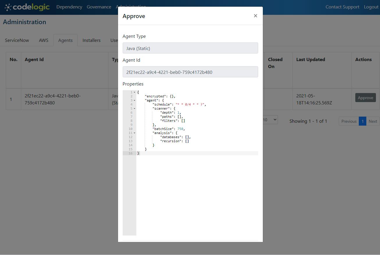 screenshot of CodeLogic's agent approval pop up